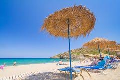 Ontspan op strand Vai van Kreta, Griekenland Royalty-vrije Stock Foto