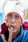 Niet geïdentificeerde Lahu stam hogere mens Stock Foto's