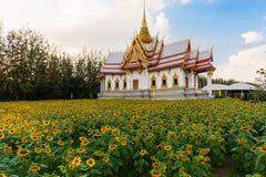 Niet Kum-is de Tempel in de Provincie van Nakhon Ratcashia of Korat, Thailand met zonnebloemen in de voorgrond stock afbeelding