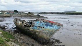 Niet meer gebruikte wrakrivier Plym Plymouth Devon het UK royalty-vrije stock foto