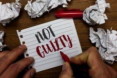 Niet Schuldige handschrifttekst Het concept die iemand betekenen is onschuldig beging geen specifieke misdaad hij de tellersnotit stock afbeelding