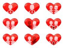 Niet-traditionele families hart-vormige knopen Stock Afbeeldingen