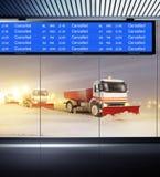 Niet-vliegt nacht in luchthaven Stock Foto's