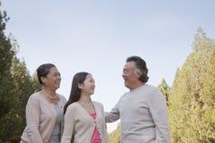 Nieta con los abuelos que caminan en el parque Fotografía de archivo