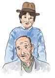 Nieto que juega con el abuelo stock de ilustración