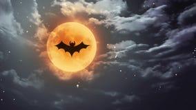 Nietoperz Halloweenowa księżyc i zmroku niebo ilustracja wektor