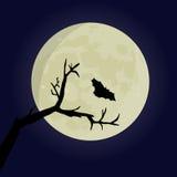 Nietoperz i drzewo przeciw wielkiej księżyc Zdjęcie Royalty Free
