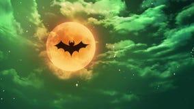 nietoperz księżyc Halloweenowej zieleni okropny niebo ilustracji