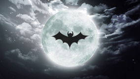 Nietoperz księżyc zmroku Wielki Halloweenowy niebo royalty ilustracja