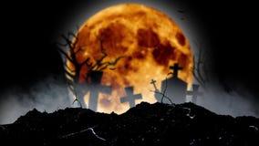 Nietoperze latają w cmentarzu za sylwetkami krzyże, drzewo i księżyc Czarny dymiący tło ilustracja wektor