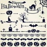 nietoperzy czerń projekta elementów oczy doniosły Halloween zawierają dźwigarki latarniowej o dyniowej tarantuli czarownicy kresk Fotografia Stock
