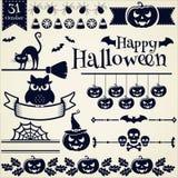 nietoperzy czerń projekta elementów oczy doniosły Halloween zawierają dźwigarki latarniowej o dyniowej tarantuli czarownicy kresk Fotografia Royalty Free