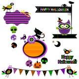 nietoperzy czerń projekta elementów oczy doniosły Halloween zawierają dźwigarki latarniowej o dyniowej tarantuli czarownicy Zdjęcia Stock