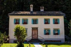 Nietzsche-Haus en Sils Maria cerca de St Moritz en el Engadine superior, Grisons, Suiza imagen de archivo