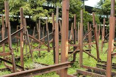 Nieużywany kolejowy fracht zdjęcia royalty free