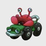 Nieudolny kraba kierowca w samochodowej ilustracji royalty ilustracja