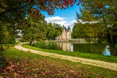 Nieul castle in autumn Royalty Free Stock Photo