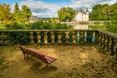 Nieul castle and bench Royalty Free Stock Images