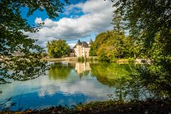 Nieul castle and lake Royalty Free Stock Photo