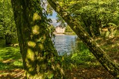 Nieul castle and lake Royalty Free Stock Image