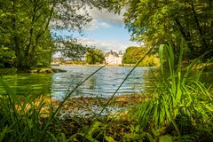 Nieul castle and lake Royalty Free Stock Images