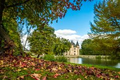 Nieul castle and leaves Royalty Free Stock Image
