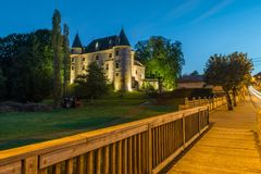 Nieul castle at night Royalty Free Stock Photography