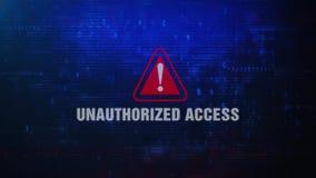 Nieupoważnionego dostępu ostrzeżenia błędu wiadomości Ostrzegawczy mruganie na ekranie ilustracja wektor