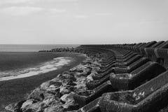 Nieuw Brighton Sea Defences stock afbeeldingen