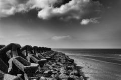 Nieuw Brighton Sea Defenses stock afbeeldingen