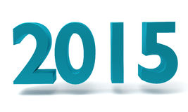Nieuw 3D jaar 2015 - geef op witte achtergrond terug Stock Foto