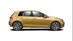 Nieuw die VW Golf op wit wordt geïsoleerd Stock Foto