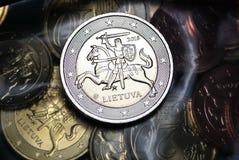 Nieuw euro muntstuk van Litouwen Royalty-vrije Stock Foto's