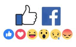 Nieuw Facebook zoals knoop 6 Begrijpende Emoji-Reacties stock illustratie
