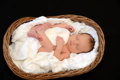 Nieuw - geboren Babyslaap in een houten mand Royalty-vrije Stock Afbeeldingen