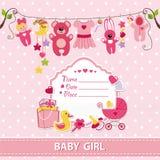 Nieuw - geboren van de de kaartdouche van het babymeisje de uitnodigingsmalplaatje Stock Foto's
