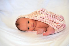 Nieuw - geboren wakker Babymeisje Stock Fotografie