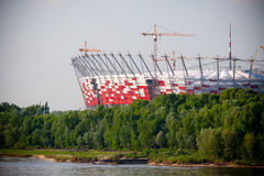 Nieuw gebouwd Nationaal Stadion, Warshau stock foto