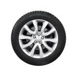 Nieuw glanzend automobielwiel op lichte geïsoleerde legeringsschijf Stock Afbeelding