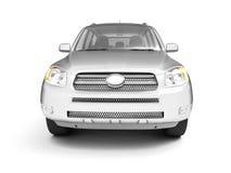 Nieuw glanzend zilveren vooraanzicht SUV stock illustratie