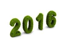 nieuw het jaar groen met gras bedekt die concept van 2016 op witte achtergrond wordt geïsoleerd Royalty-vrije Stock Foto