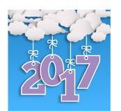 nieuw het jaarmalplaatje van 2017 met wolk en aantallen stock foto's