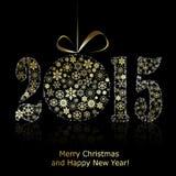 Nieuw het jaarsymbool van 2015 op zwarte backround Stock Foto