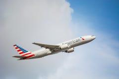 Nieuw het Vliegtuigontwerp van American Airlines tijdens de vlucht Royalty-vrije Stock Foto