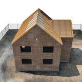 Nieuw huis die met bakstenen op wit worden gebouwd Hoek van omhoog 3D Illustratie Stock Fotografie