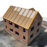 Nieuw huis die met bakstenen op wit worden gebouwd Hoek van omhoog 3D Illustratie Royalty-vrije Stock Foto