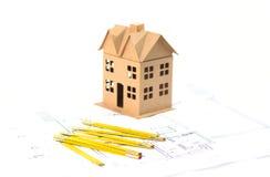 Nieuw huis op de blauwdruk Royalty-vrije Stock Foto