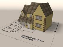 Nieuw huis op een reeks architectenplannen Royalty-vrije Stock Foto