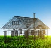 Nieuw huis wireframe project op groen gebied De huizen van onroerende goederen?, Vlakten voor verkoop of voor huur royalty-vrije stock foto's