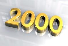 Nieuw jaar 2000 in (3D) goud Royalty-vrije Stock Afbeeldingen